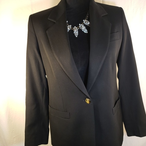 Austin Reed Jackets Coats Austin Reed Black Logo Gold Buttons Wood 4 Petite Poshmark